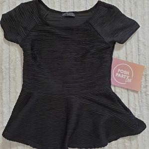 🆕️ZARA W & B Collection •Black peplum top•sz.sml